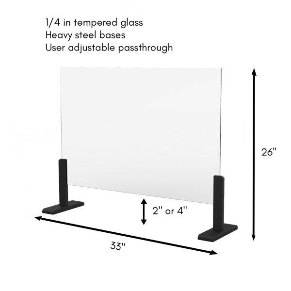 heavy steel based glass sneeze guard